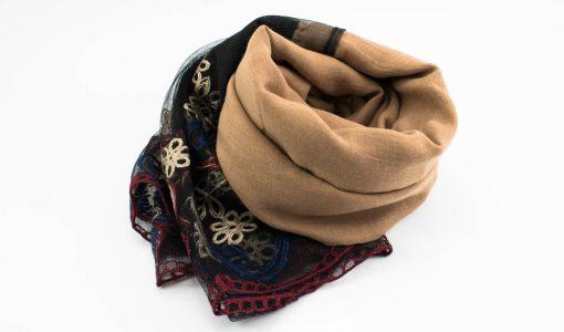Black Vintage Lace Hijab - Golden Brown - Hidden Pearls