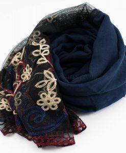 Black Vintage Lace Hijab - Midnight Blue - Hidden Pearls