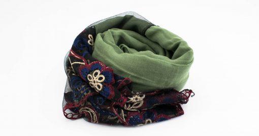 Black Vintage Lace Hijab - Pistachio - Hidden Pearls
