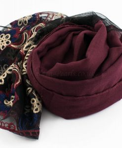 Black Vintage Lace Hijab - Rosewood 2 - Hidden Pearls