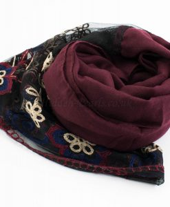 Black Vintage Lace Hijab - Rosewood- Hidden Pearls