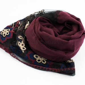 Black Vintage Lace Hijab - Rosewood- Hidden Pearls