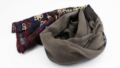 Black Vintage Lace Hijab - Taupe Brown - Hidden Pearls
