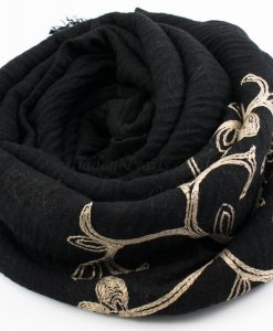 Crimp Embroidered Hijab - Black 2 - Hidden Pearls