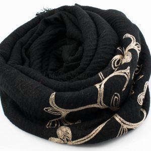 Crimp Embroidered Hijab - Black 2 - Hidden Pearls