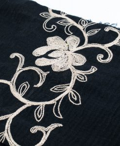Crimp Embroidered Hijab - Black - Hidden Pearls