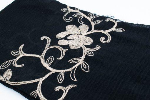 Crimp Embroidered Hijab - Black - Hidden Pearls