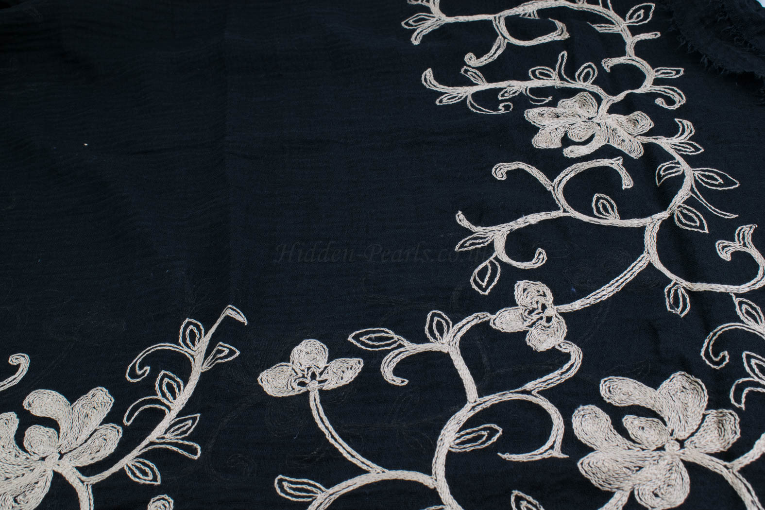 Crimp Embroidered Hijab - Black close up- Hidden Pearls