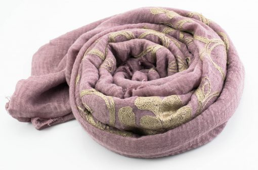 Crimp Embroidered Hijab - Deep Lavender - Hidden Pearls