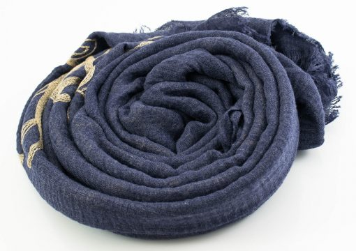 Crimp Embroidered Hijab - Denim Blue 2 - Hidden Pearls