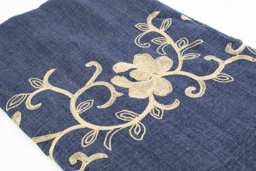Crimp Embroidered Hijab - Denim Blue - Hidden Pearls