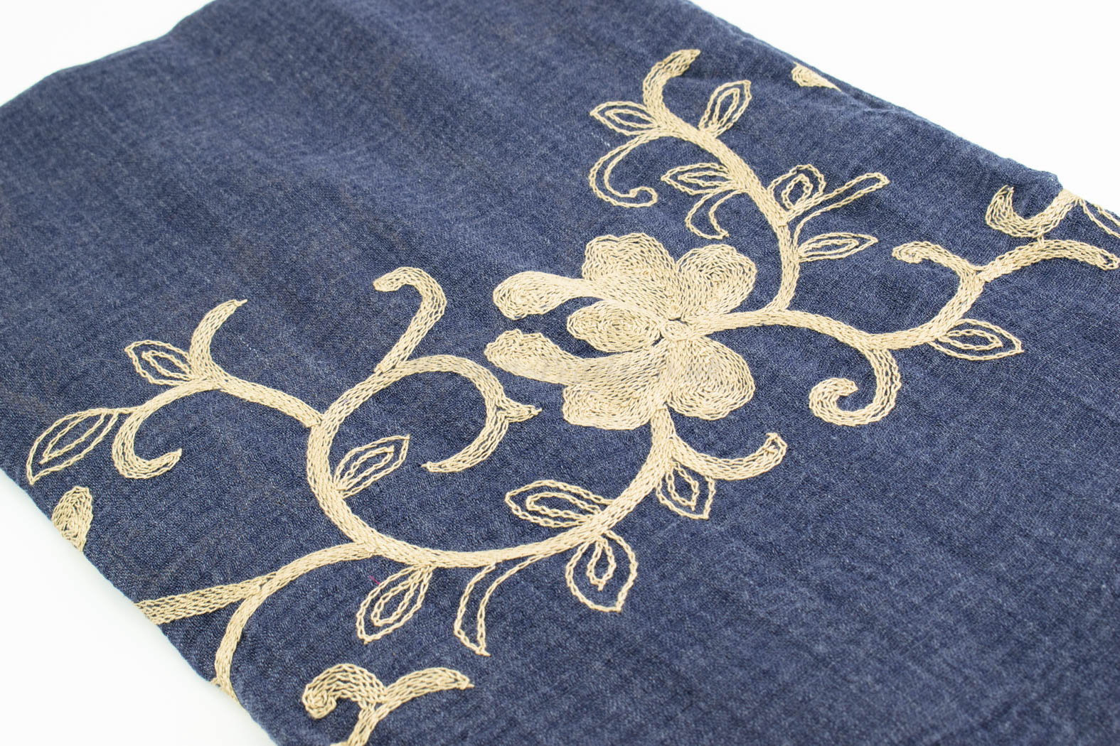 Crimp Embroidered Hijab - Denim Blue - Hidden Pearls
