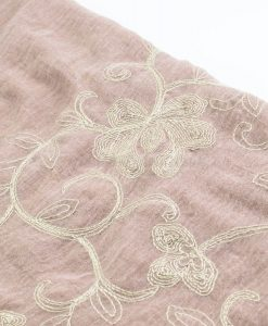 Crimp Embroidered Hijab - Dusky Pink close up- Hidden Pearls