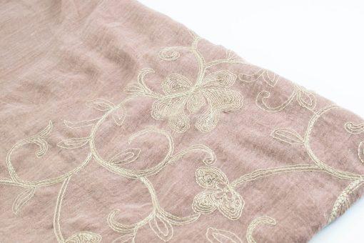 Crimp Embroidered Hijab - Dusky Pink close up- Hidden Pearls