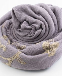 Crimp Embroidered Hijab - Light Lilac - Hidden Pearls
