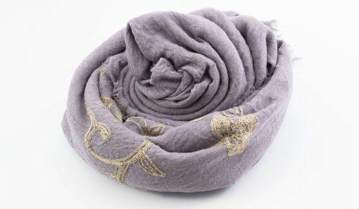 Crimp Embroidered Hijab - Light Lilac - Hidden Pearls