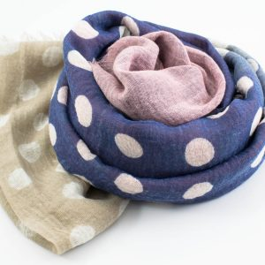 Crimp Polka Dot - Latte & Dusky :Pink& Denim - Hidden Pearls