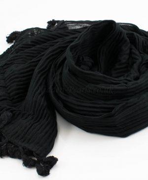 Crinkle Tassel Hijabs - Black - Hidden Pearls