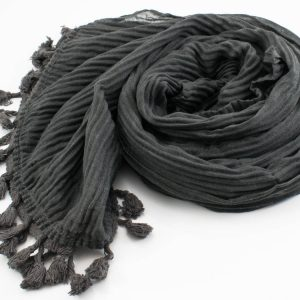 Crinkle Tassel Hijabs - Dark Grey - Hidden Pearls