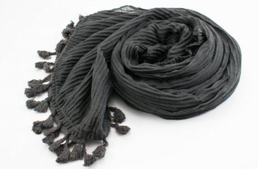 Crinkle Tassel Hijabs - Dark Grey - Hidden Pearls