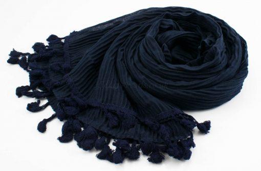 Crinkle Tassel Hijabs - Midnight Blue - Hidden Pearls