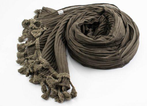 Crinkle Tassel Hijabs - Taupe Brown - Hidden Pearls