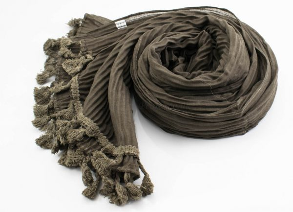 Crinkle Tassel Hijabs - Taupe Brown - Hidden Pearls