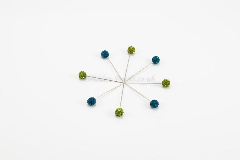 Diamante Hijab Pin - Green & Azure Blue - Hidden Pearls