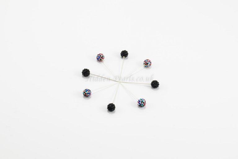 Diamante Hijab Pin - Black & Multi-Colour - Hidden Pearls