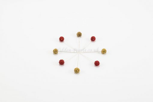 Diamante Hijab Pin - Red & Gold - Hidden Pearls