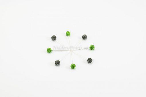 Diamante Hijab Pin - Graphite & Islamic Green - Hidden Pearls