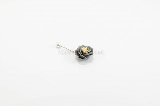 Flower & Pearl Hijab Pin - Grey - Hidden Pearls