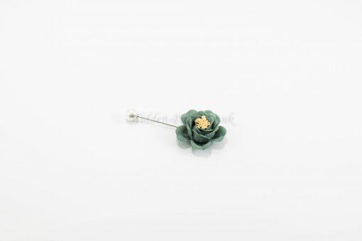 Flower & Pearl Hijab Pin - Green - Hidden Pearls