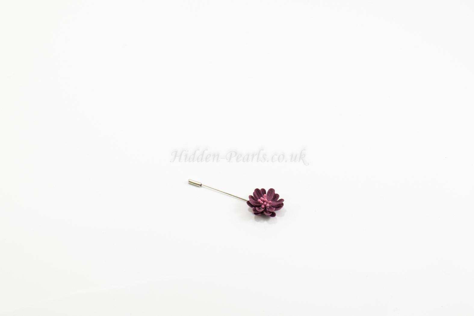Flower Hijab Pin Plum - Hidden Pearls