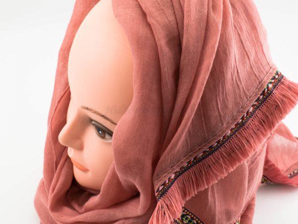 Morrocon Border Hijab - Spanish Pink - Hidden Pearls