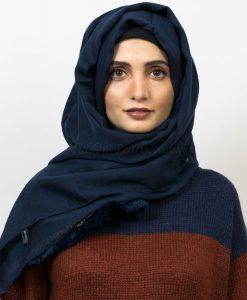 Moroccon Border Hijab - Navy Blue - Hidden Pearls