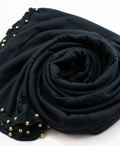 Jersey Pearl Hijab - Charcoal- Hidden Pearls
