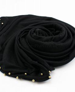 Jersey Pearl Hijab - Black 3- Hidden Pearls