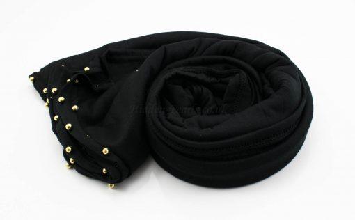 Jersey Pearl Hijab - Black - Hidden Pearls 4