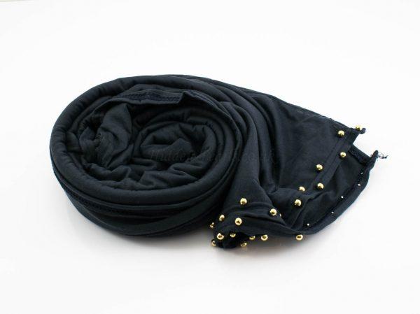 Jersey Pearl Hijab -Charcoal Hidden Pearls