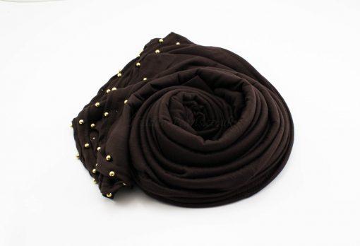 Jersey Pearl Hijab - Chocolate - Hidden Pearls