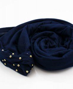 Jersey Pearl Hijab - Midnight Blue 2 - Hidden Pearls