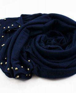 Jersey Pearl Hijab - Midnight Blue - Hidden Pearls
