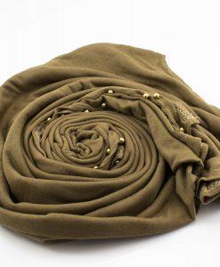 Jersey Pearl Hijab - Mocha - Hidden Pearls