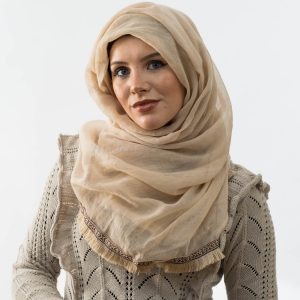 Moroccon Lace Hijab - Beige 2 - Hidden Pearls