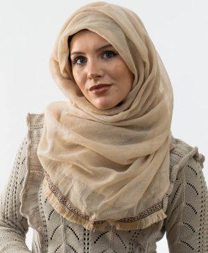 Moroccon Lace Hijab - Beige 2 - Hidden Pearls