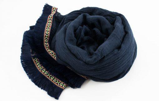 Morrocan Lace Hijab - Navy - Hidden Pearls