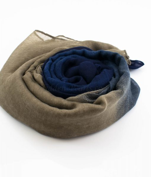 Ombre Hijab Midnight Blue & Latte - Hidden Pearls