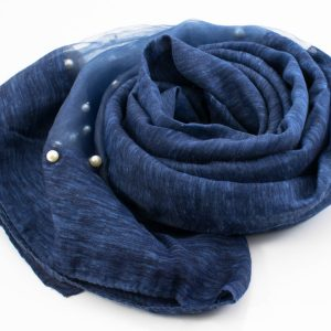 Organza Pearl Hijab - Dark Denim 2 - Hidden Pearls