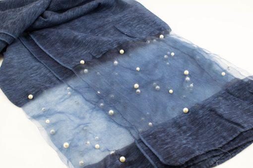 Organza Pearl Hijab - Dark Denim - Hidden Pearls